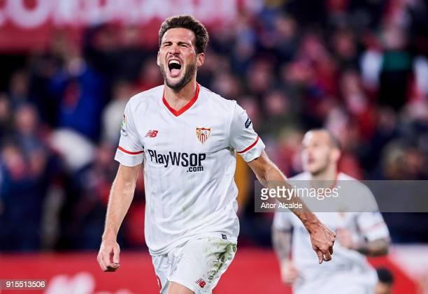 Franco Vazquez of Sevilla FC celebrates after scoring his team's second goal during the Copa del Rey semifinal second leg match between Sevilla FC...