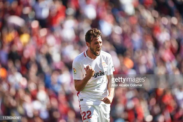 Franco Vazquez of Sevilla FC celebrates after scoring the third goal for Sevilla FC during the La Liga match between Sevilla FC and Levante UD at...