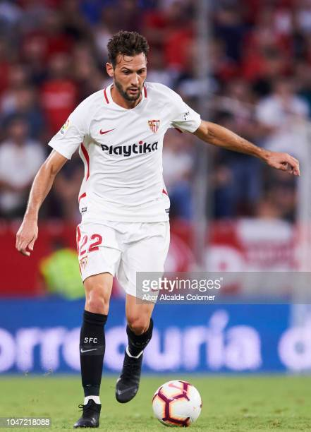 Franco Vazquez of Sevilla FC in action during the La Liga match between Sevilla FC and RC Celta de Vigo at Estadio Ramon Sanchez Pizjuan on October 7...