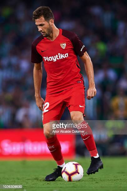 Franco Vazquez of Sevilla FC in action during the La Liga match between Real Betis Balompie and Sevilla FC at Estadio Benito Villamarin on September...
