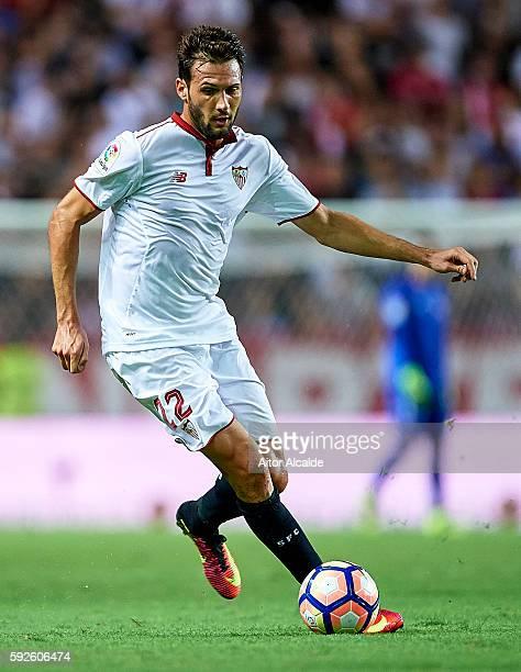 Franco Vazquez of Sevilla FC in action during the match between Sevilla FC vs RCD Espanyol as part of La Liga at Estadio Ramon Sanchez Pizjuan on...