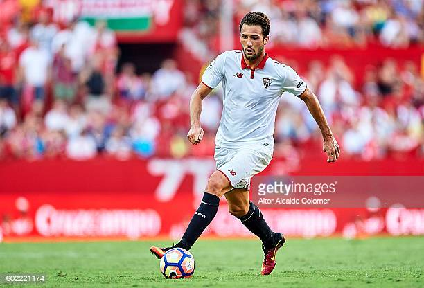 Franco Vazquez of Sevilla FC in action during the match between Sevilla FC vs UD Las Palmas as part of La Liga at Estadio Ramon Sanchez Pizjuan on...