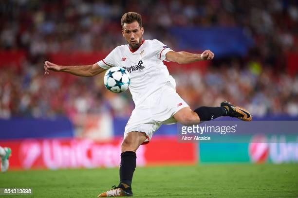 Franco Vazquez of Sevilla FC in action during the UEFA Champions League match between Sevilla FC and NK Maribor at Estadio Ramon Sanchez Pizjuan on...