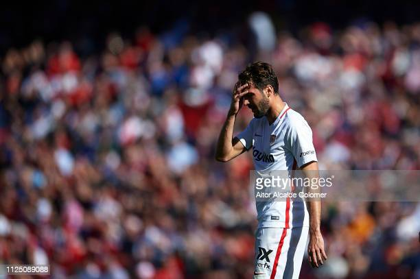 Franco Vazquez of Sevilla FC looks on during the La Liga match between Sevilla FC and Levante UD at Estadio Ramon Sanchez Pizjuan on January 26 2019...