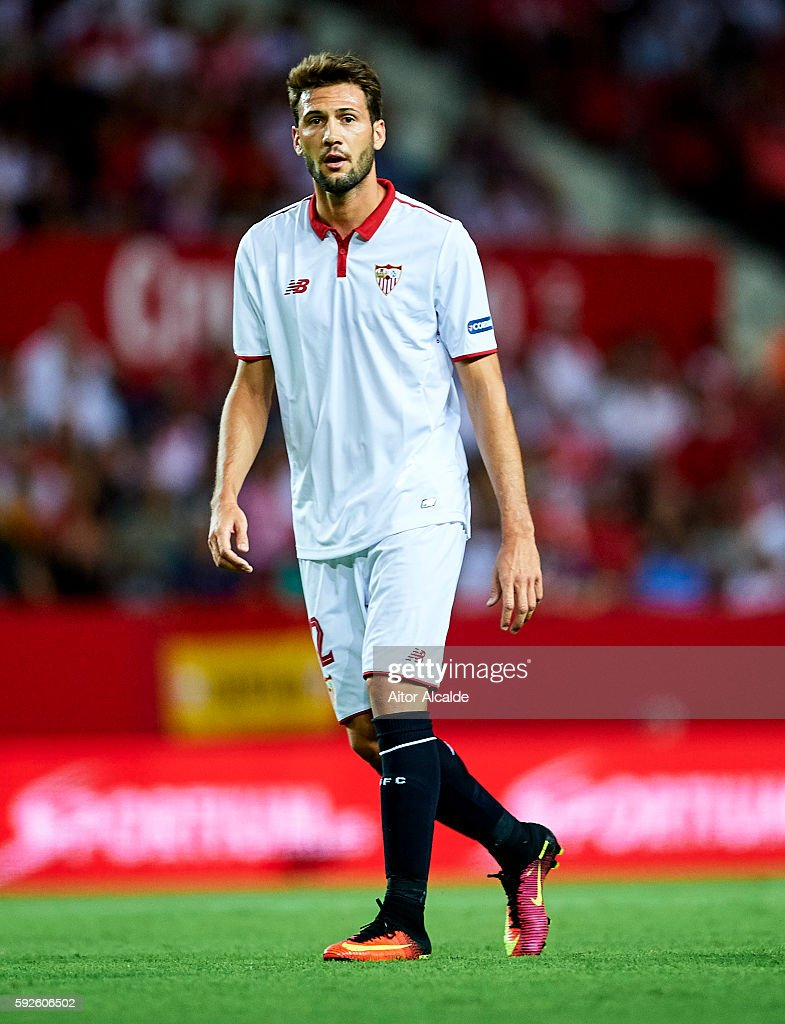 Franco Vazquez of Sevilla FC looks on during the match between Sevilla FC vs RCD Espanyol as part of La Liga at Estadio Ramon Sanchez Pizjuan on August 20, 2016 in Seville, Spain.