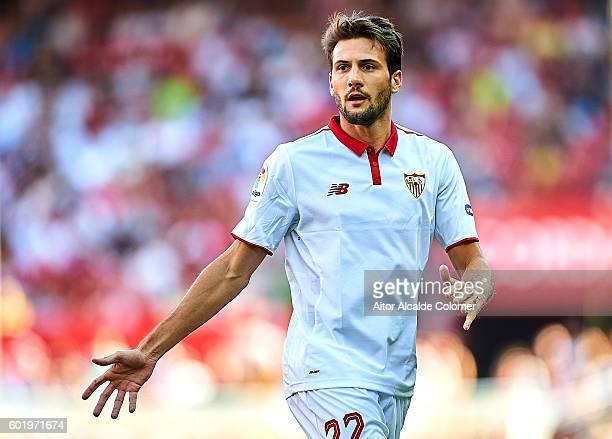 Franco Vazquez of Sevilla FC looks on during the match between Sevilla FC vs UD Las Palmas as part of La Liga at Estadio Ramon Sanchez Pizjuan on...