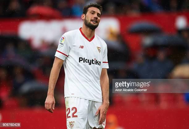 Franco Vazquez of Sevilla FC reacts during the La Liga match between Sevilla and Athletic Club at Estadio Ramon Sanchez Pizjuan on March 3 2018 in...