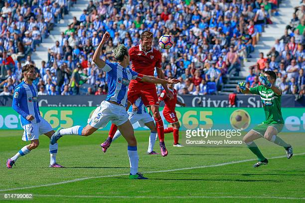 Franco Vazquez of Sevilla FC scores their opening goal during the La Liga match between CD Leganes and Sevilla FC at Estadio Municipal de Butarque on...