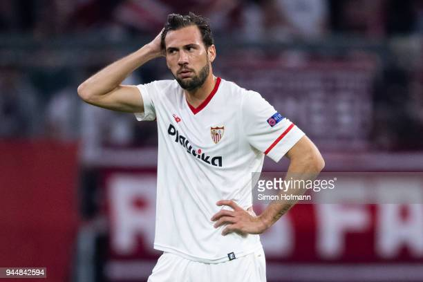 Franco Vazquez of Sevilla reacts during the UEFA Champions League Quarter Final second leg match between Bayern Muenchen and Sevilla FC at Allianz...