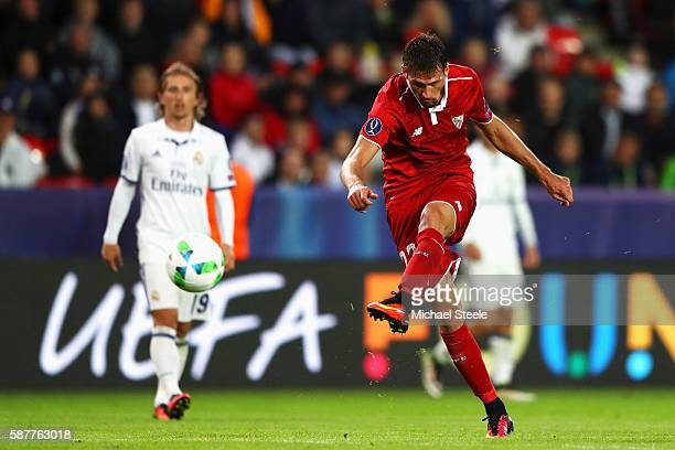 Franco Vazquez of Sevilla shoots during the UEFA Super Cup match between Real Madrid and Sevilla at Lerkendal Stadion on August 9 2016 in Trondheim...