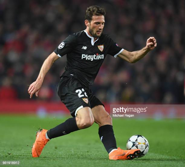 Franco Vazquez of Seville in action during the UEFA Champions League Round of 16 Second Leg match between Manchester United and Sevilla FC at Old...