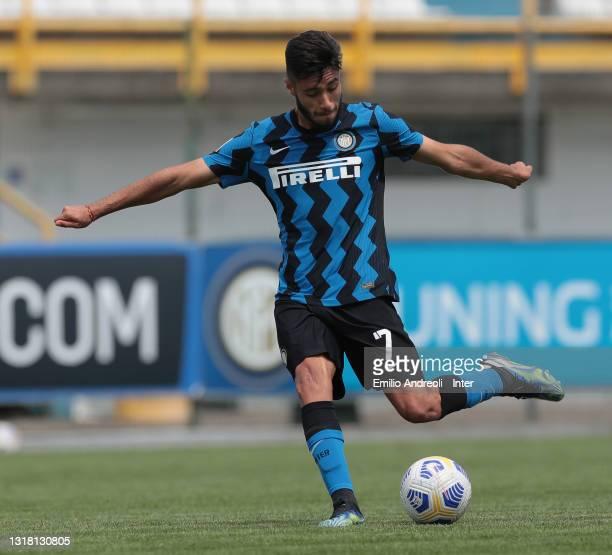 Franco Vezzoni of FC Internazionale U19 kicks the ball during the Primavera 1 TIM match between FC Internazionale U19 and ACF Fiorentina U19 at...