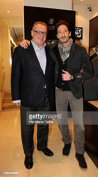 Franco Ziviani, Managing Director of Audemars Piguet Italia, and actor Adrien Brody visit Audemars Piguet flagship store on April 18, 2012 in Milan,...