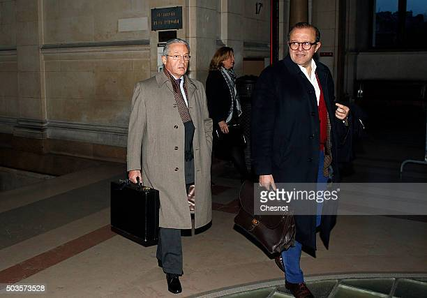 FrancoAmerican art dealer Guy Wildenstein arrives at the Paris courthouse with his lawyer Herve Temime for the second day of his trial on January 6...