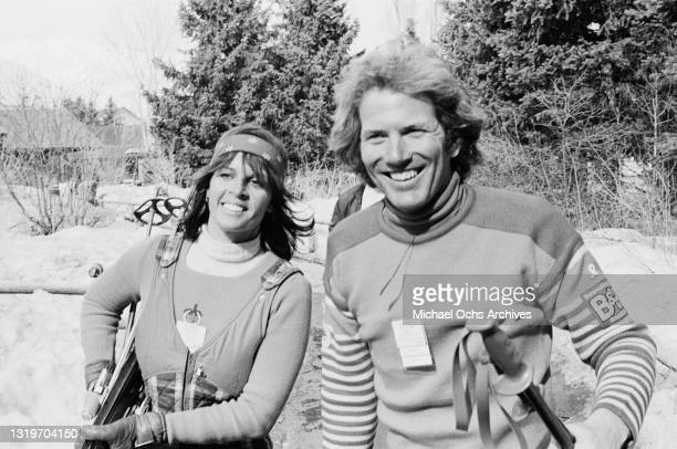 Franco-American singer Claudine Longet and her partner, American alpine ski racer Spider Sabich , attend the Pro-Am Lange Cup tournament, held at the...