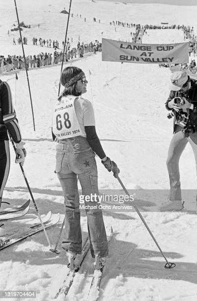 Franco-American singer Claudine Longet attends the Pro-Am Lange Cup tournament, held at the Sun Valley Resort, at the north end of Wood River Valley,...