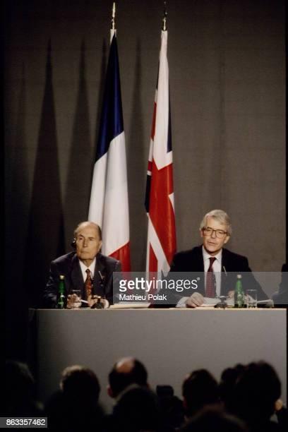 Franco-British summit in London - French President François Mitterrand and British Prime Minister John Major.