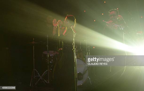 FrancoChilean artist Ana Tijoux and her band perform during the Copa America 2015 draw ceremony at the Quinta Vergara in Vina del Mar Chile on...