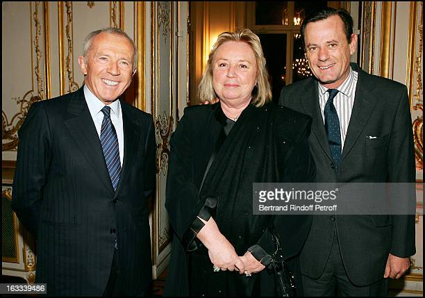 Francois and Maryvonne Pinault and Louis Benech at the Charity Dinner In Aid Of NRB In Paris.