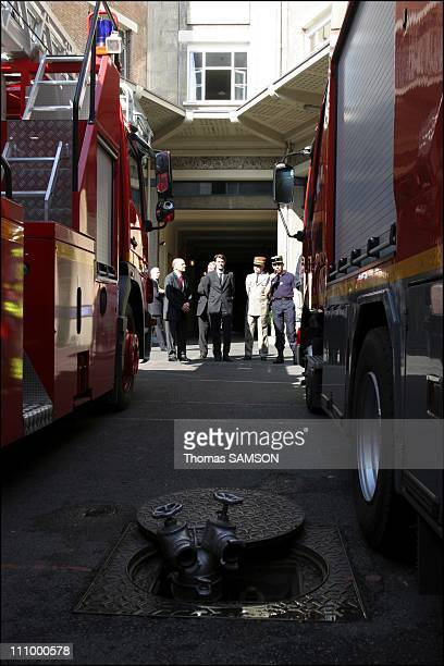 Francois Baroin, Interior Minister, visited the General Staff of the Brigade of the Paris Fire Brigade , the barracks Champerret in Paris, France on...