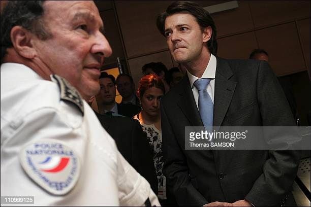 Francois Baroin, making his first visit as Minister of the Interior, at the Prefecture of Police in Paris, France on March 27th, 2007 - Francois...