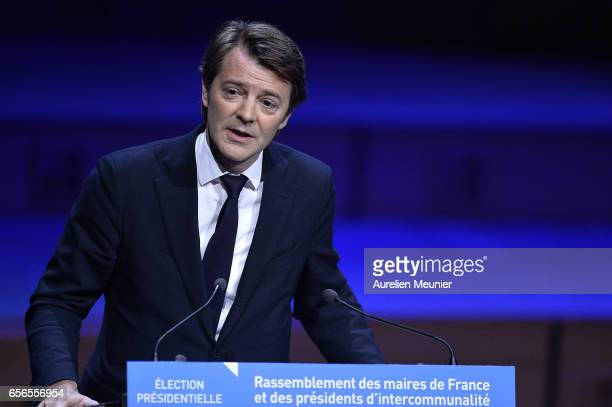 Francois Baroin, president of the Association of French Mayors, introduces the conference where the French Presidential Candidate will discuss with...