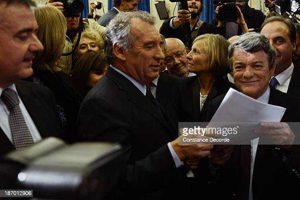 Francois Bayrou and JeanLouis Borloo signing a common convetion at the ModemUDI common press conference at Maison de La Chimie on November 5 2013 in...