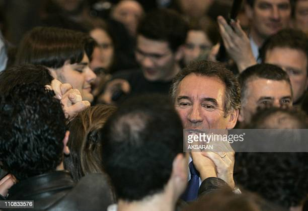 Francois Bayrou During A Meeting In Toulouse France On March 05 2007 Francois Bayrou candidate to the Elysee after the meeting with the trade unions...