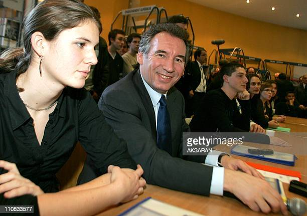 Francois Bayrou During A Meeting In Toulouse, France On March 05, 2007 - Francois Bayrou, candidate to the Elysee after the meeting with the trade...