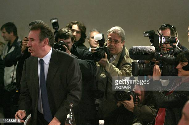 Francois Bayrou During A Meeting In Toulouse, France On March 05, 2007 - Francois Bayrou, candidate to the Elysee, after the meeting with the...