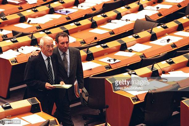 Francois Bayrou European Deputy In Brussels Belgium On January 30Th 2000 In Brussels Belgium At The European Parliament with General Philippe Morillon
