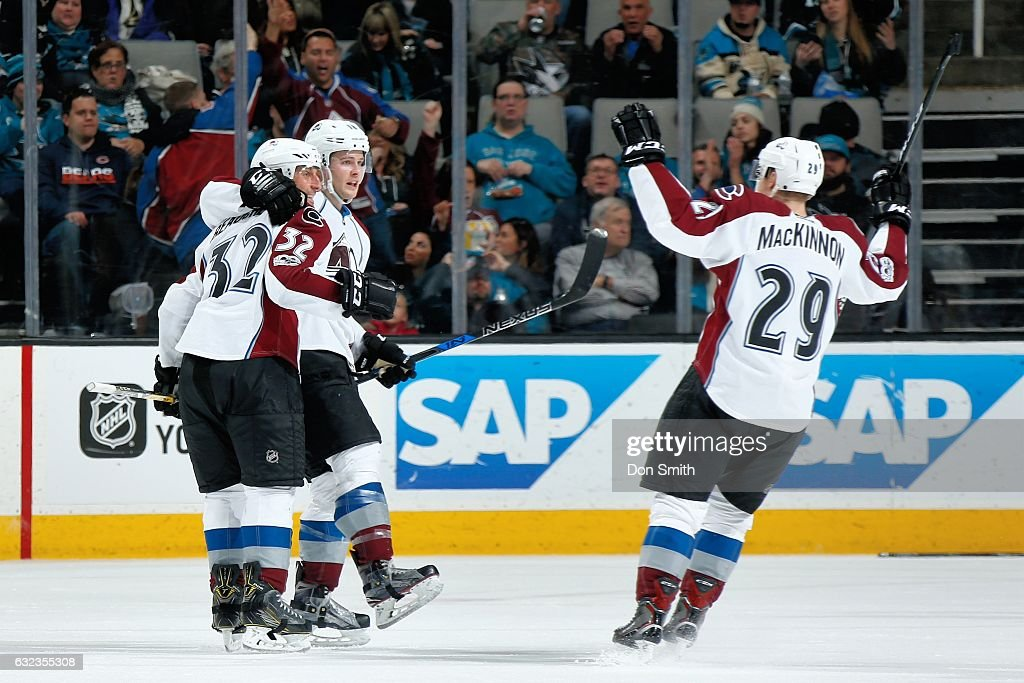 Francois Beauchemin #32 and Nathan MacKinnon #29 of the Colorado Avalanche react to Beauchemin's third period goal during a NHL game against the San Jose Sharks at SAP Center at San Jose on January 21, 2017 in San Jose, California.