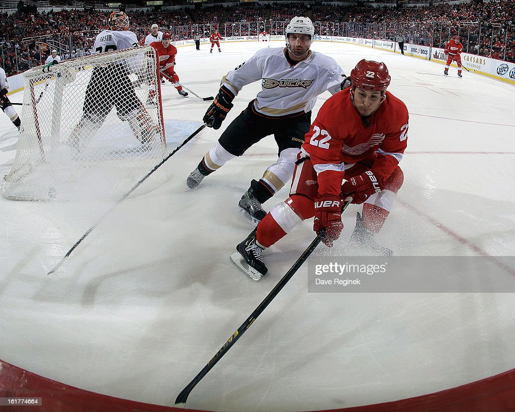 Francois Beauchemin #23 of the Anaheim Ducks and Jordin Tootoo #22 of the Detroit Red Wings go hard into the corner for the puck during a NHL game on February 15, 2013 at Joe Louis Arena in Detroit, Michigan. Anaheim defeated Detroit 5-2