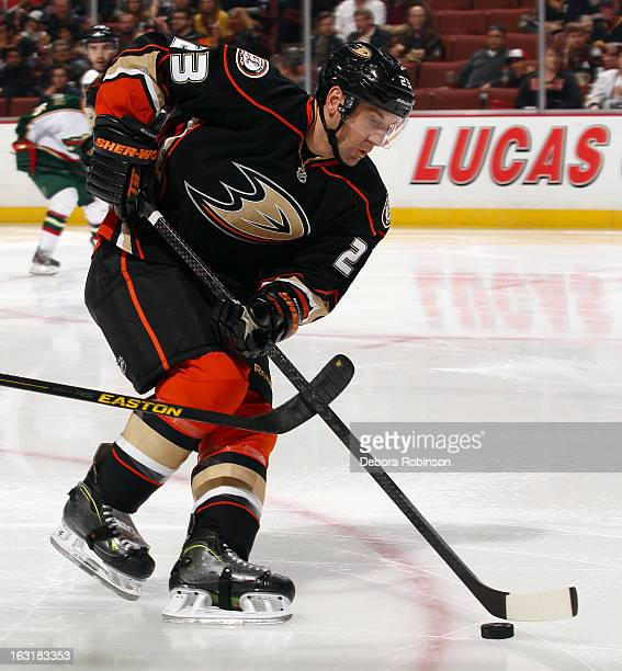 Francois Beauchemin of the Anaheim Ducks handles the puck during the game against the Minnesota Wild on March 1 2013 at Honda Center in Anaheim...