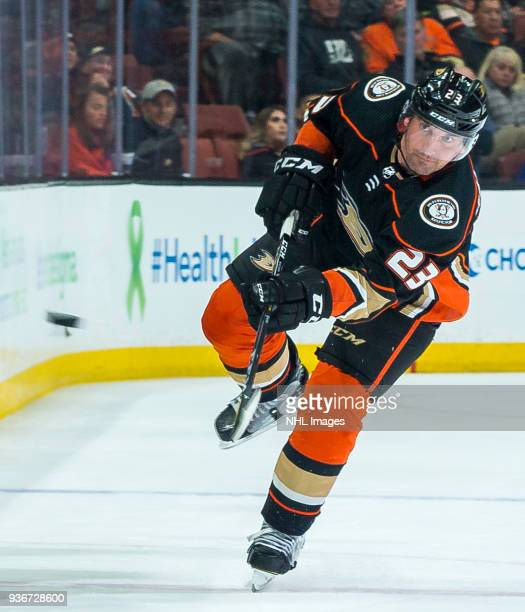 Francois Beauchemin of the Anaheim Ducks passes the puck during the third period of the game against the New Jersey Devils at Honda Center on March...