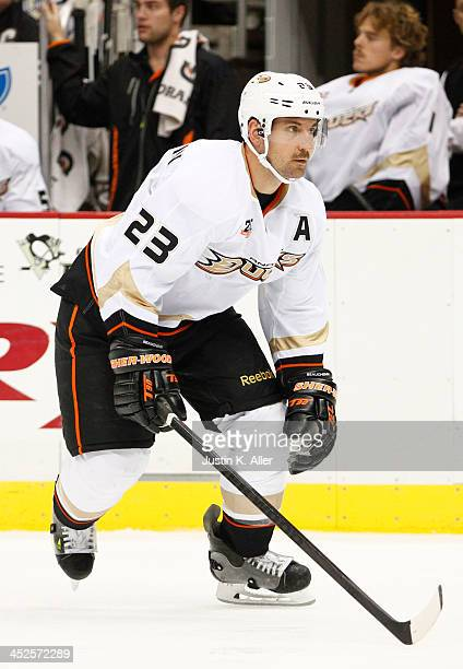 Francois Beauchemin of the Anaheim Ducks skates against the Pittsburgh Penguins during the game at Consol Energy Center on November 18 2013 in...