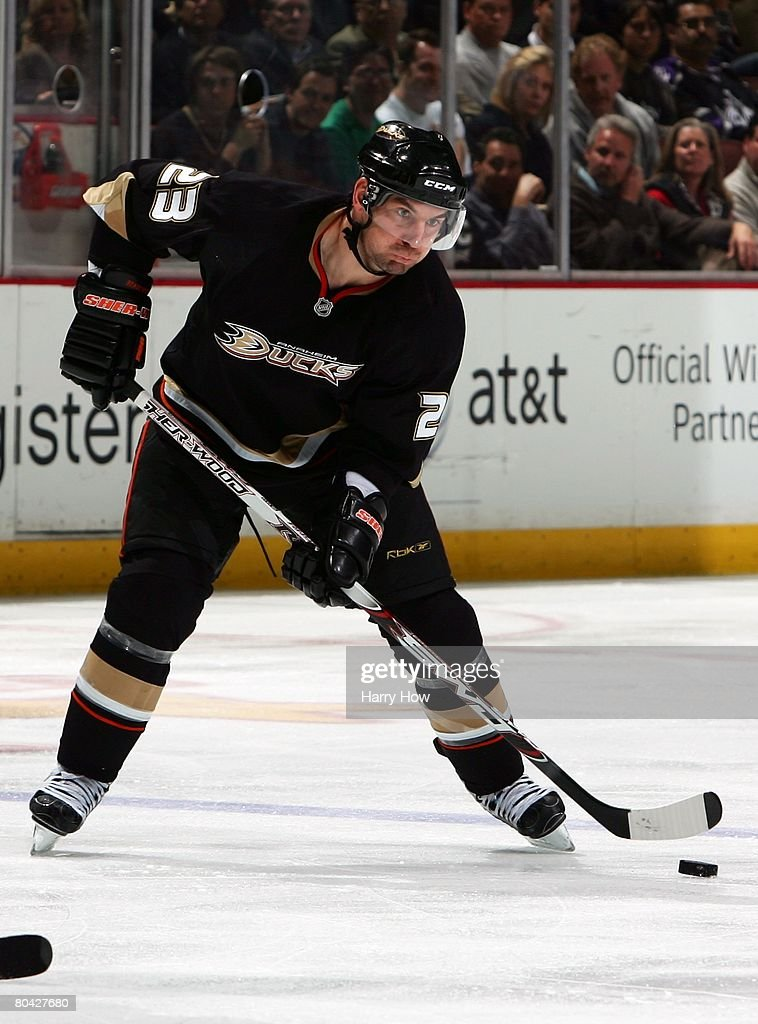 Francois Beauchemin #23 of the Anaheim Ducks takes a shot against the Los Angeles Kings during the first period at the Honda Center on March 26, 2008 in Anaheim, California.