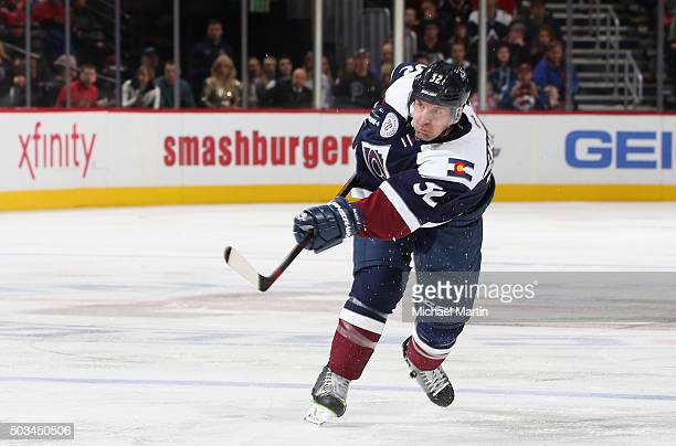 Francois Beauchemin of the Colorado Avalanche shoots against the Chicago Blackhawks at the Pepsi Center on December 31 2015 in Denver Colorado