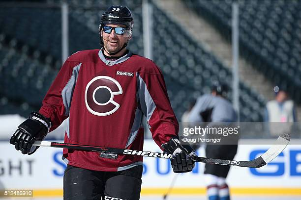 Francois Beauchemin of the Colorado Avalanche wears sunglasses as he skates during a practice session on the eve of their game versus the Detroit Red...