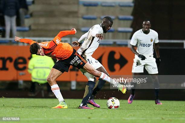 Francois Bellugou of Lorient and Tiemoue Bakayoko of Monaco during the Ligue 1 match between Fc Lorient and As Monaco at Stade du Moustoir on...