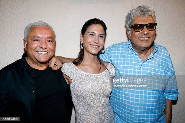 Francois Ben Naceur Cyrine Frad and singer Enrico Macias attend the Michel Boujenah's show 'Ma vie revee' for the last evening of the 30th Ramatuelle...