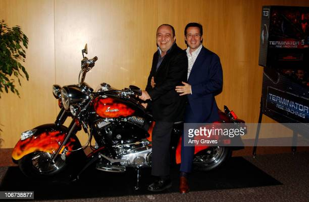 Francois Bennahmias of Audemars Piguet and John Simonian of Westime with custom designed Indian Motorcycle made for the T3 film