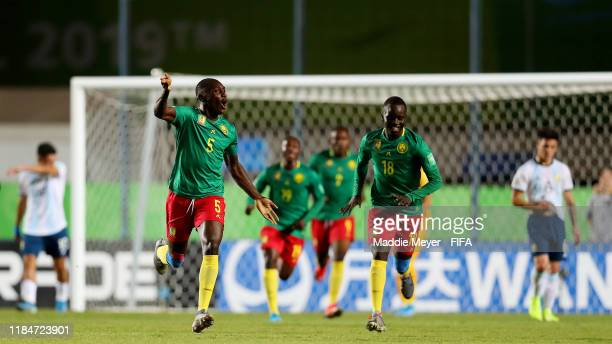 Francois Bere of Cameroon celebrates after scoring a goal during the FIFA U17 World Cup Brazil 2019 group E match between Cameroon and Argentina at...