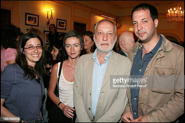 Francois Berleand and daughter Fanny and son Martin with girlfriend Alexia Stresi at The Theatre Production Tailleur Pour Dames At Theatre Edouard...