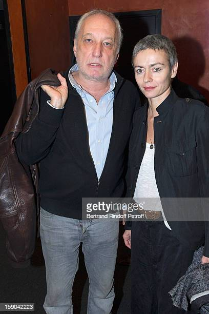 Francois Berleand and his companion Alexia Stresi pose after attending the show of French impersonator Laurent Gerra at Olympia hall on January 5...