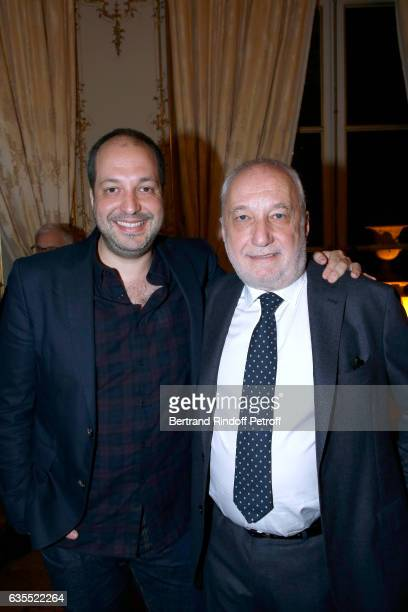 Francois Berleand and his son Martin Berleand attend Francois Berleand is elevated to the rank of 'Officier de la Legion d'Honneur' at Hotel de...