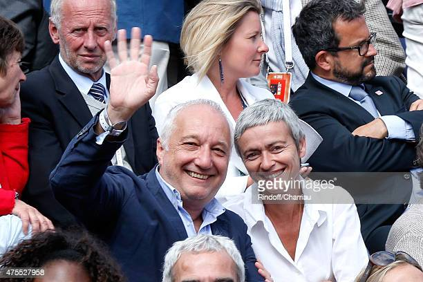 Francois Berleand and his wife Alexia Stresi attend the 2015 Roland Garros French Tennis Open Day Nine on June 1 2015 in Paris France
