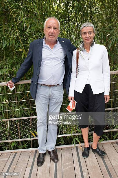 Francois Berleand and his wife Alexia Stresi attend the French open at Roland Garros on June 2 2015 in Paris France