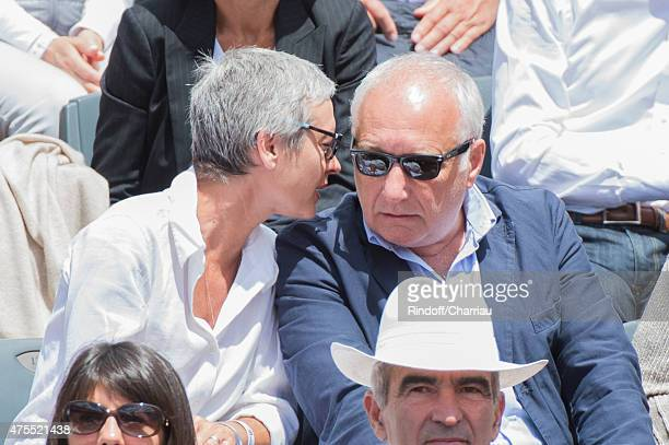 Francois Berleand and his wife Alexia Stresi attend the Roland Garros French open at Roland Garros on June 1 2015 in Paris France