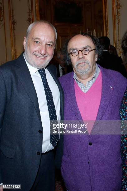 Francois Berleand and JeanMichel Ribes attend Francois Berleand is elevated to the rank of 'Officier de la Legion d'Honneur' at Hotel de Matignon on...